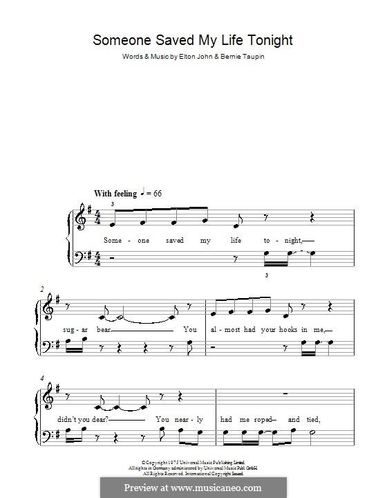 Someone Saved My Life Tonight: Facil para o piano by Elton John