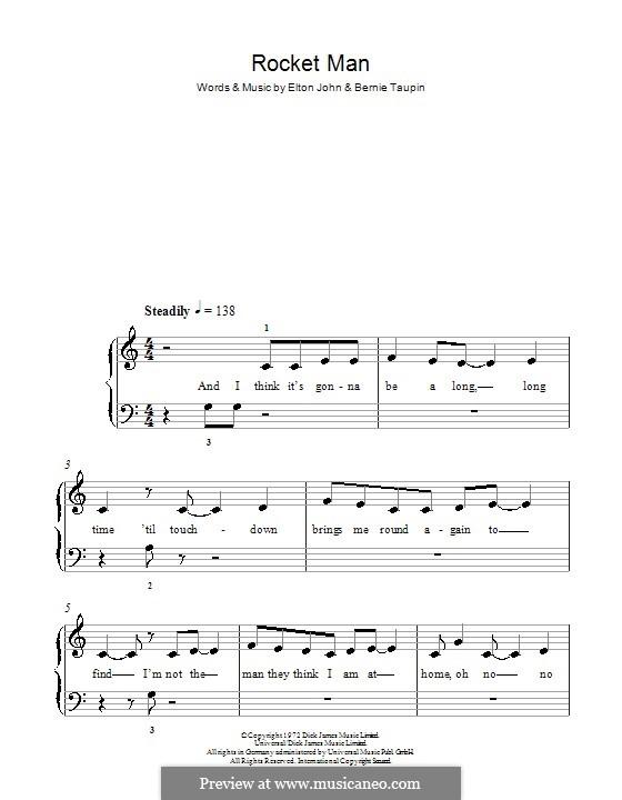 Rocket Man (I Think It's Gonna Be a Long Long Time): Facil para o piano by Elton John