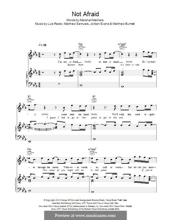 Not Afraid (Eminem): Para vocais e piano (ou Guitarra) by Jordan Evans, Luis Resto, Matthew Burnett, Matthew Samuels