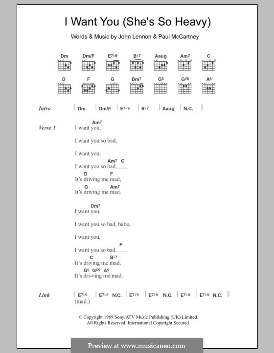 I Want You (She's So Heavy): Lyrics and chords (The Beatles) by John Lennon, Paul McCartney