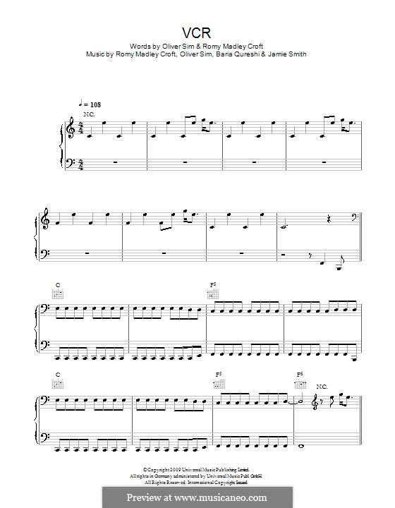 VCR (The XX): Para vocais e piano (ou Guitarra) by Baria Qureshi, Jamie Smith, Oliver Sim, Romy Madley Croft