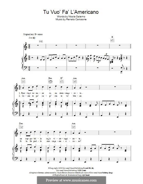 Tu Vuò Fà L'Americano: Para vocais e piano (ou Guitarra) by Renato Carosone
