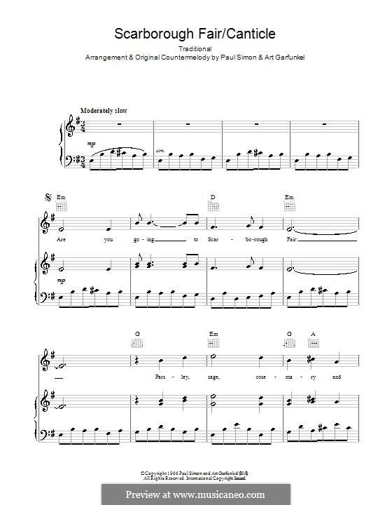 Scarborough Fair / Canticle: Para vocais e piano (ou Guitarra) by folklore