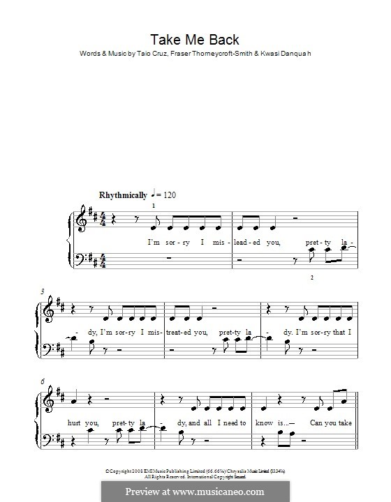 Take Me Back: Facil para o piano by Fraser T. Smith, Kwasi Danquah, Taio Cruz