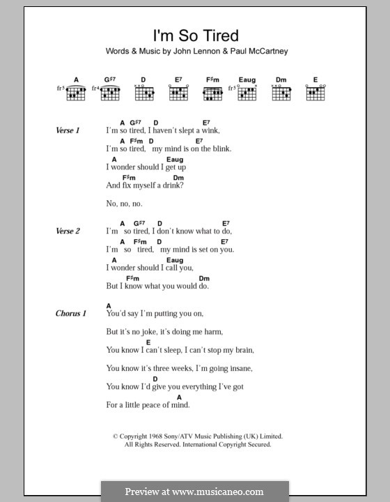 I'm So Tired (The Beatles): Letras e Acordes by John Lennon, Paul McCartney