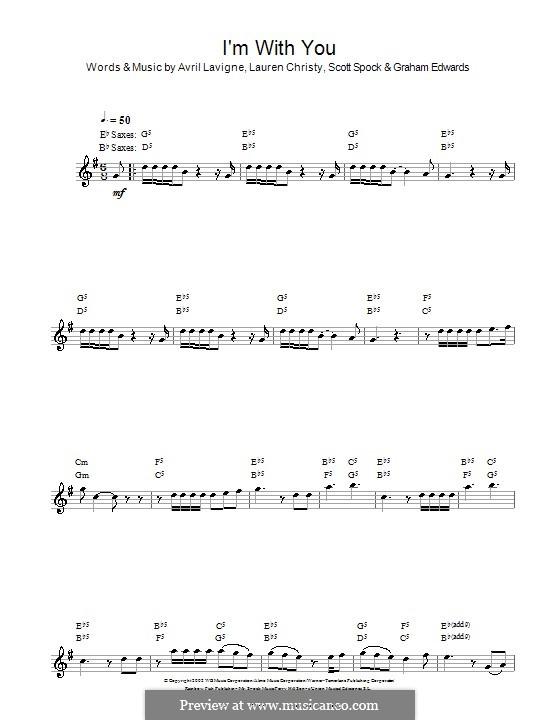 I'm with You: para saxofone by Avril Lavigne, Graham Edwards, Lauren Christy, Scott Spock