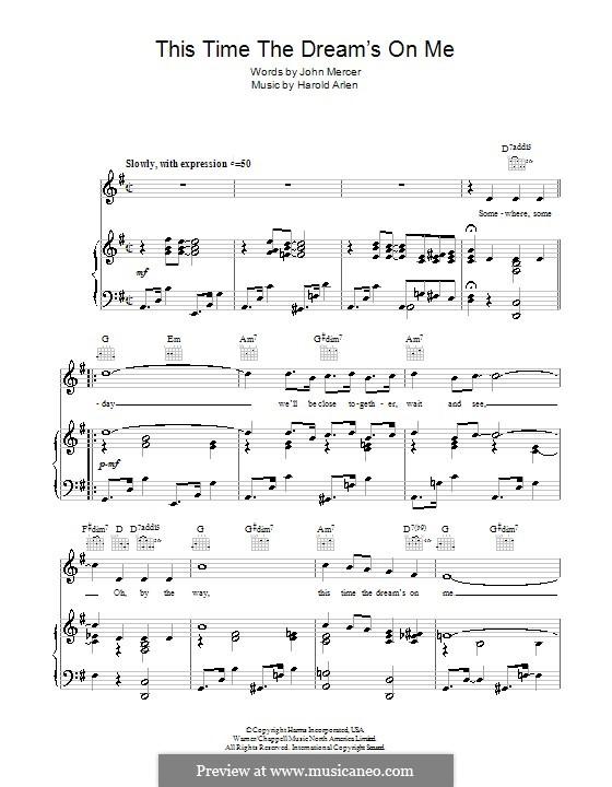 This Time the Dream's on Me (Tony Bennett): Para vocais e piano (ou Guitarra) by Harold Arlen