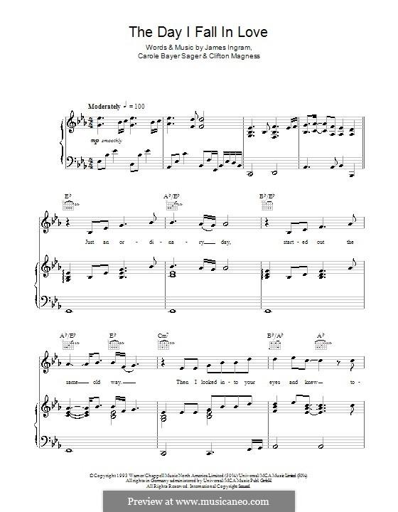 The Day I Fall in Love (Dolly Parton): Para vocais e piano (ou Guitarra) by Carole Bayer Sager, Clifton Magness, James Ingram