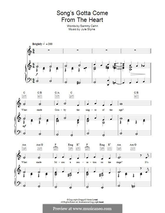 The Song's Gotta Come from the Heart (Frank Sinatra): Para vocais e piano (ou Guitarra) by Jule Styne