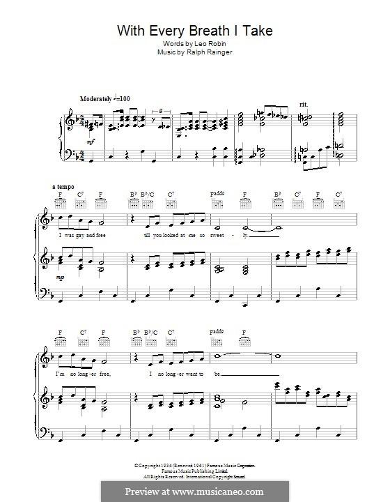 With Every Breath I Take: Para vocais e piano (ou Guitarra) by Ralph Rainger
