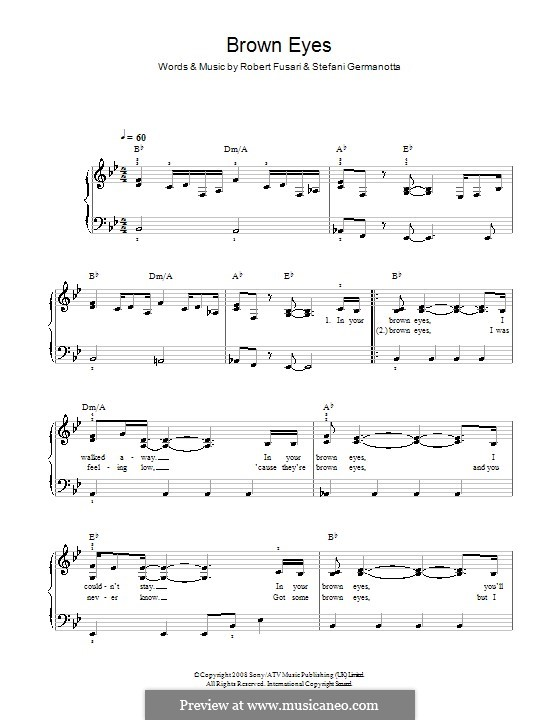 Brown Eyes (Lady Gaga): Facil para o piano by Robert Fusari, Stefani Germanotta