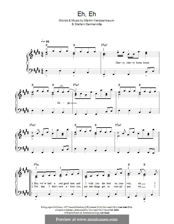 Eh, Eh (Nothing Else I Can Say): For easy piano (Lady GaGa) by Martin Kierszenbaum, Stefani Germanotta
