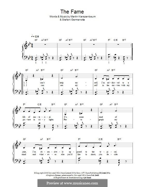 The Fame (Lady Gaga): Facil para o piano by Martin Kierszenbaum, Stefani Germanotta