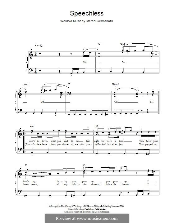 Speechless (Lady Gaga): Facil para o piano by Stefani Germanotta