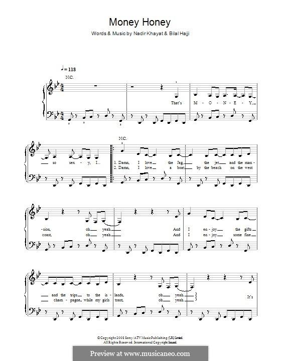 Money Honey (Lady Gaga): Facil para o piano by RedOne, Bilal Hajji, Stefani Germanotta
