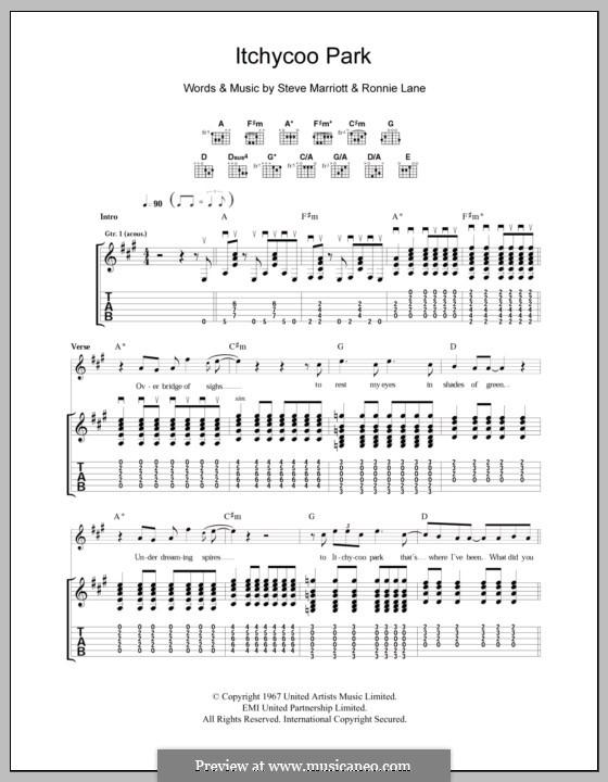 Itchycoo Park (The Small Faces): Para guitarra com guia by Ronnie Lane, Steve Marriott