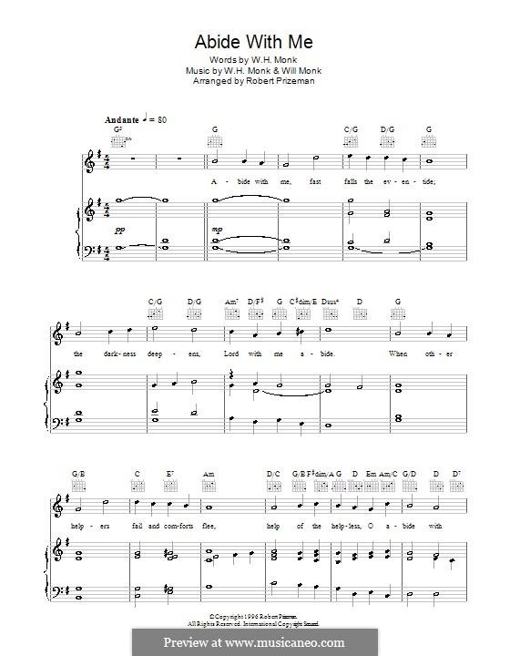 Abide with Me: Para vocais e piano (ou Guitarra) by William Henry Monk