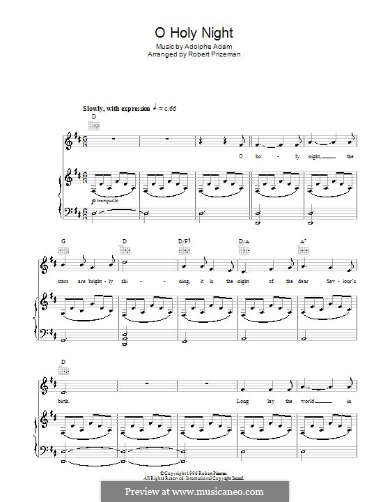 O Holy Night (Printable Scores): For voice and piano (or guitar) D Major by Adolphe Adam