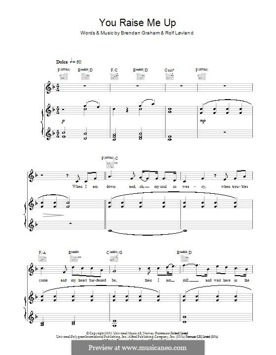 You Raise Me Up: para voz, piano e guitarra (F Major) by Brendan Graham, Rolf Løvland