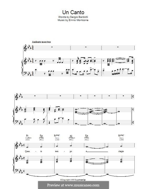 Un Canto: Para vocais e piano (ou Guitarra) by Ennio Morricone