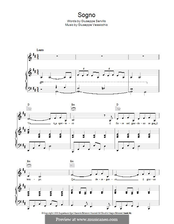 Sogno (Andrea Bocelli): Para vocais e piano (ou Guitarra) by Giuseppe Vessicchio