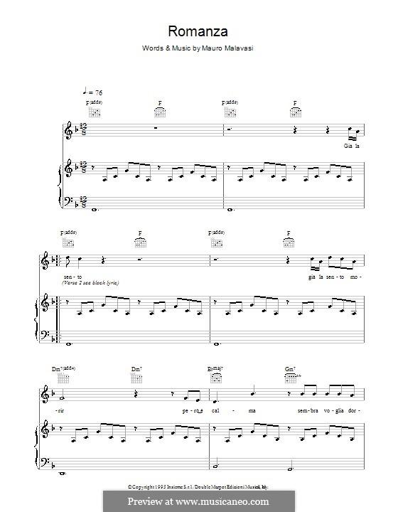 Romanza (Romance): Para vocais e piano (ou Guitarra) by Mauro Malavasi