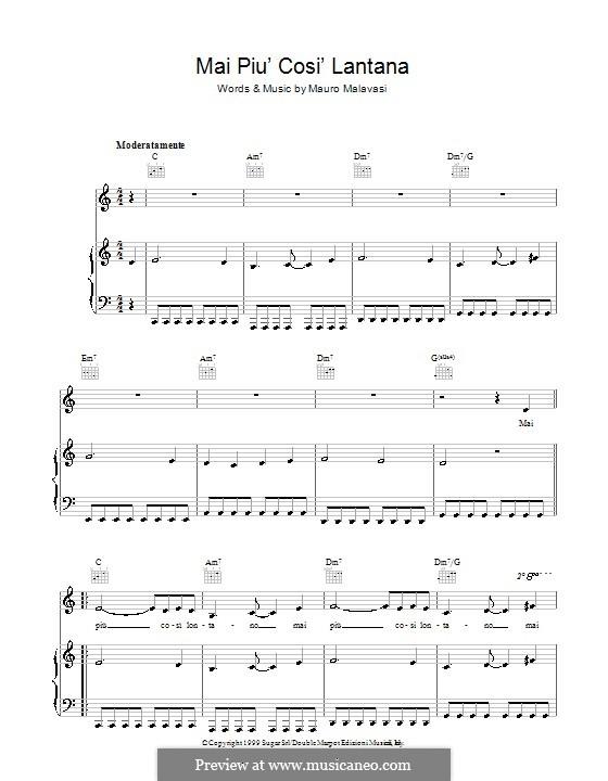 Mai Piu' Cosi' Lontano: Para vocais e piano (ou Guitarra) by Mauro Malavasi