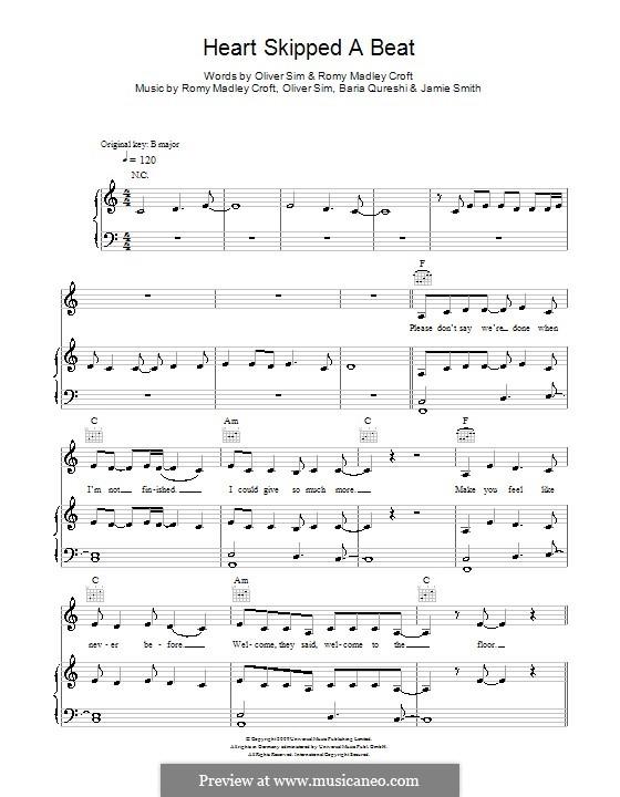 Heart Skipped a Beat (The XX): Para vocais e piano (ou Guitarra) by Baria Qureshi, Jamie Smith, Oliver Sim, Romy Madley Croft