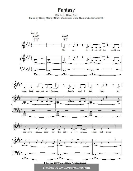 Fantasy (The XX): Para vocais e piano (ou Guitarra) by Baria Qureshi, Jamie Smith, Oliver Sim, Romy Madley Croft