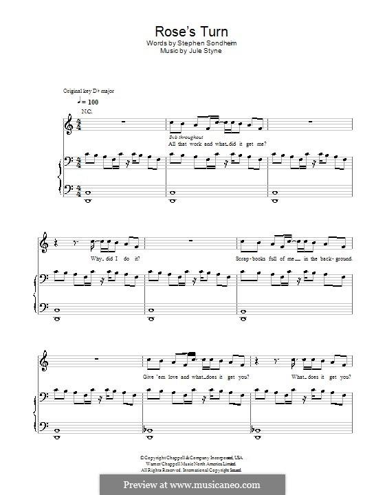 Rose's Turn: Para vocais e piano (ou Guitarra) by Jule Styne