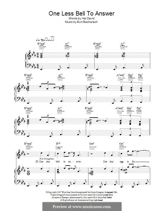 One Less Bell to Answer: Para voz e piano ou guitarra (Glee Cast) by Burt Bacharach