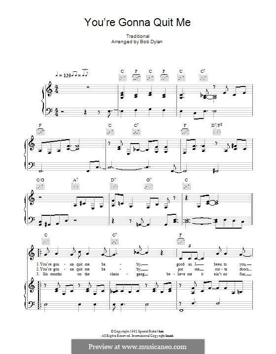 You're Gonna Quit Me: Para vocais e piano (ou Guitarra) by folklore