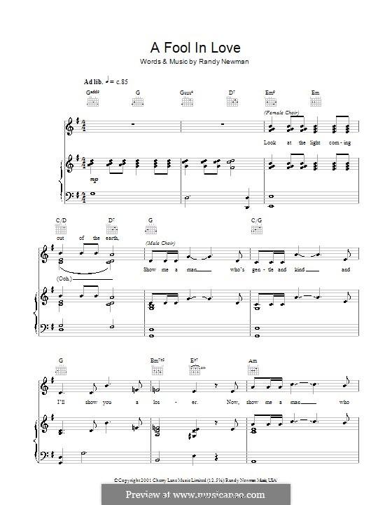 A Fool in Love: Para vocais e piano (ou Guitarra) by Randy Newman