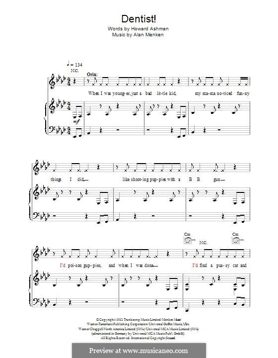 Dentist! (from Little Shop of Horrors): Para vocais e piano (ou Guitarra) by Alan Menken