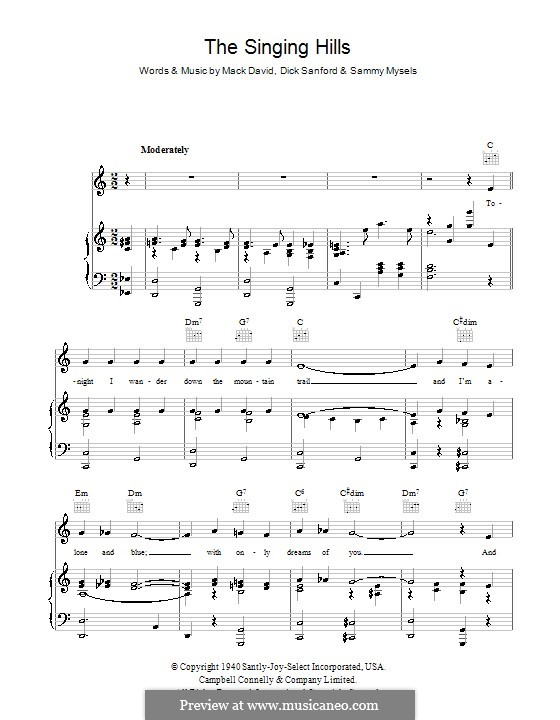 The Singing Hills (Bing Crosby): Para vocais e piano (ou Guitarra) by Dick Sanford, Mack David, Sammy Mysels