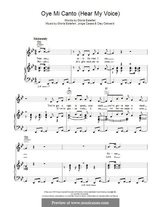 Oye Mi Canto (Hear My Voice): Para vocais e piano (ou Guitarra) by Cley Ostwald, Gloria M. Estefan, Jorge Casas