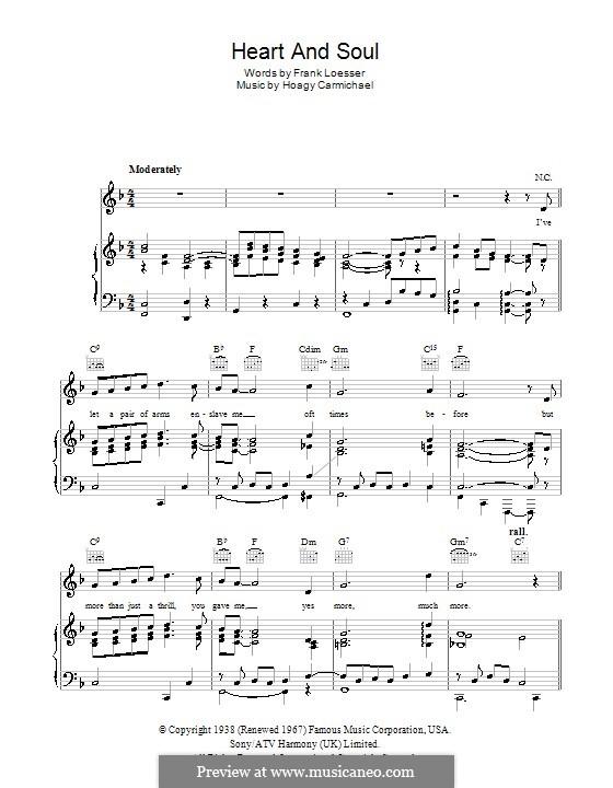 Heart and Soul: Para vocais e piano (ou Guitarra) by Hoagy Carmichael
