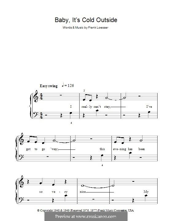 Baby, it's Cold Outside: Facil para o piano by Frank Loesser