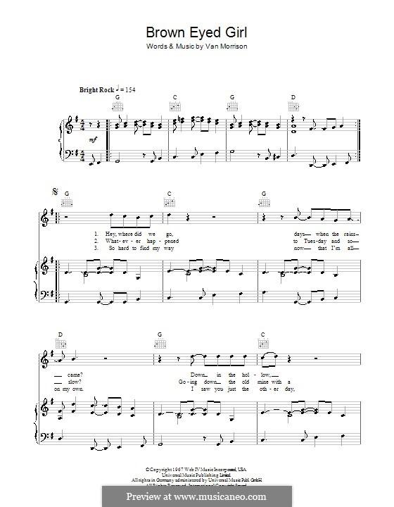 Brown Eyed Girl: Para vocais e piano (ou Guitarra) by Van Morrison
