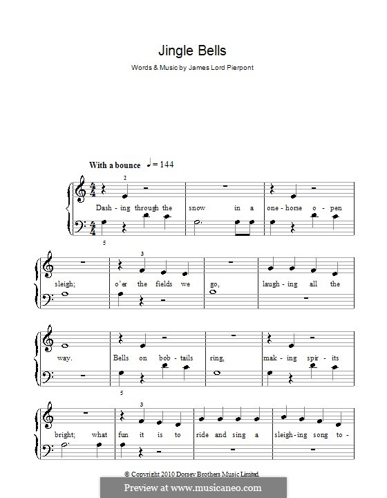 Jingle Bells, for Piano: Version for easy piano (with fingering) by James Lord Pierpont