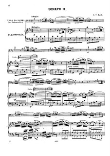 Sonata for Viola da Gamba and Harpsichord No.2 in D Major, BWV 1028: Arrangement for viola da gamba (or cello) and piano by Johann Sebastian Bach