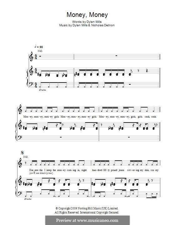 Money, Money (Dizzee Rascal): Para vocais e piano (ou Guitarra) by Dylan Mills, Nicholas Detnon