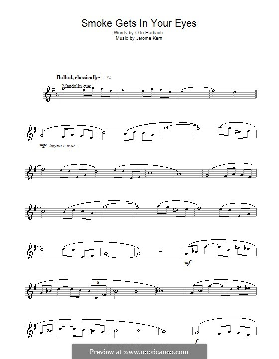 Smoke Gets in Your Eyes (from 'Roberta'): para clarinete by Jerome Kern