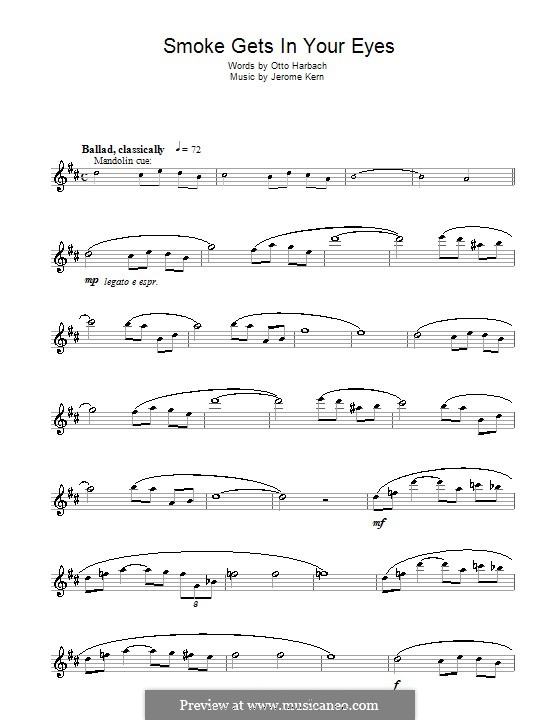 Smoke Gets in Your Eyes (from 'Roberta'): para Saxofone Alto by Jerome Kern