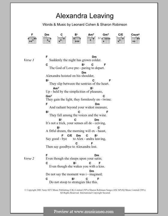 Alexandra Leaving: Letras e Acordes by Leonard Cohen, Sharon Robinson