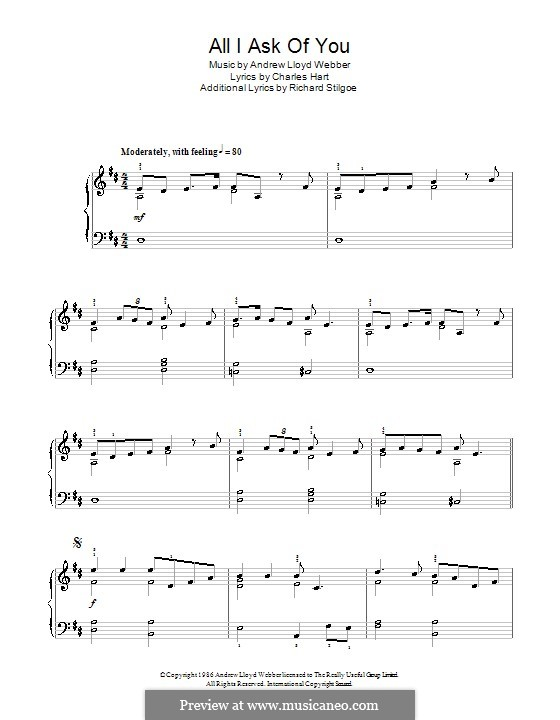 All I Ask of You: facil Para piano (D maior) by Andrew Lloyd Webber