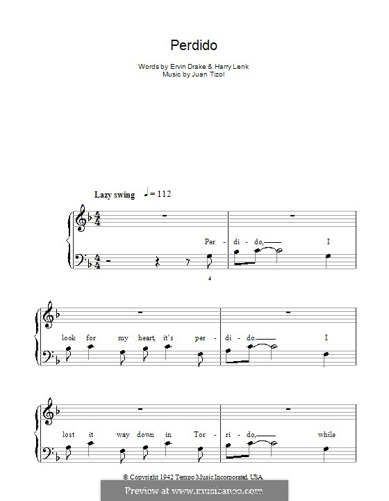 Perdido (Duke Ellington): Facil para o piano by Juan Tizol