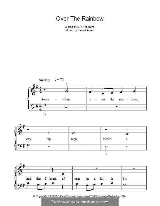 Over the Rainbow (from The Wizard of Oz): facil para piano (G maior) by Harold Arlen