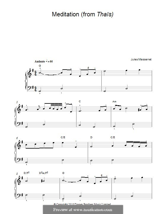 Meditation: versão facil para piano by Jules Massenet