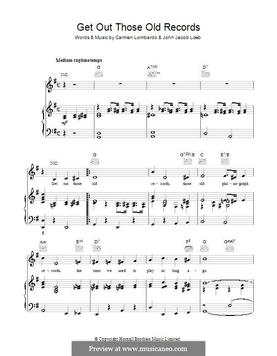 Get Out Those Old Records (Mary Martin): Para vocais e piano (ou Guitarra) by Carmen Lombardo, John Jacob Loeb